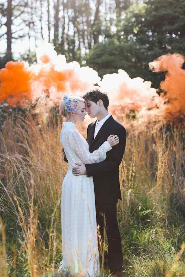 Orange Smoke Bomb Wedding Couple