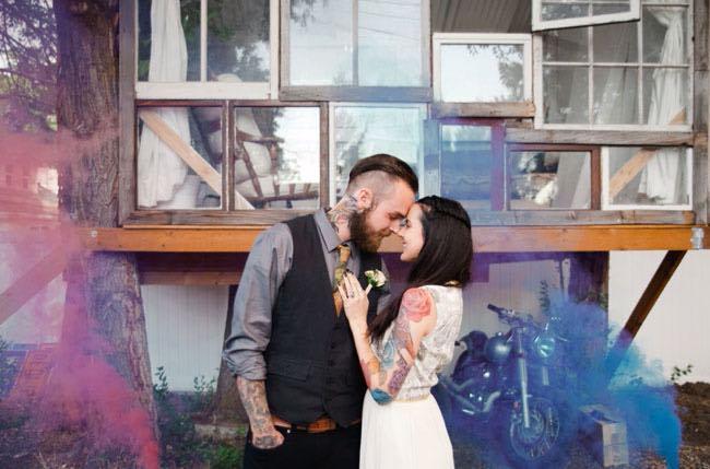 Boho Wedding Couple with Pink and Blue Smoke Bomb