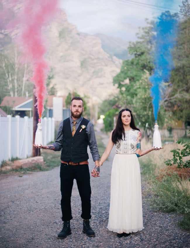 Boho Wedding Couple with Pink and Blue Smoke Bomb Details