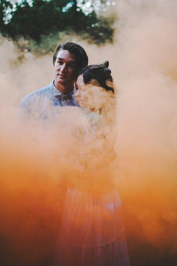 Orange Smoke Bomb with Boho Couple