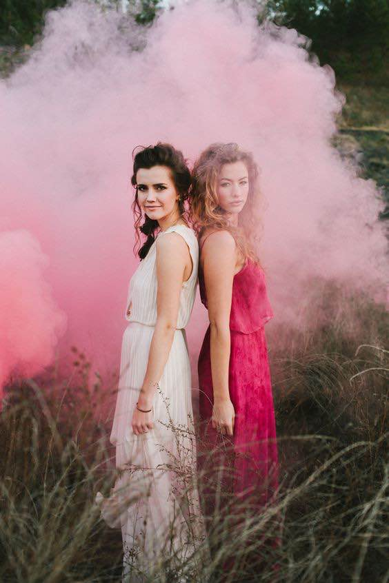 Two Bridesmaids in Pink Smoke