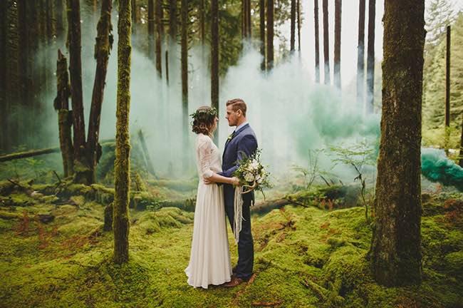 Forest Wedding Green Smoke Bomb