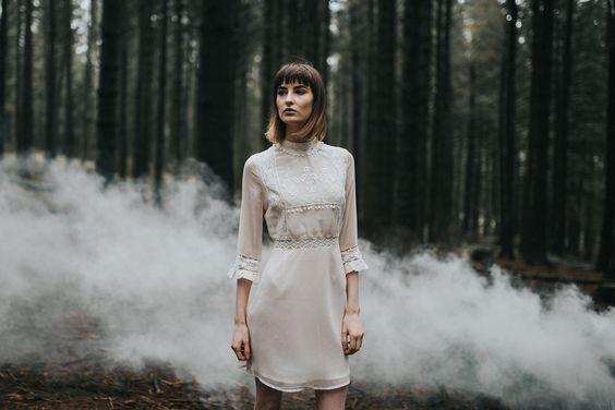 Bridal Portrait in White Smoke
