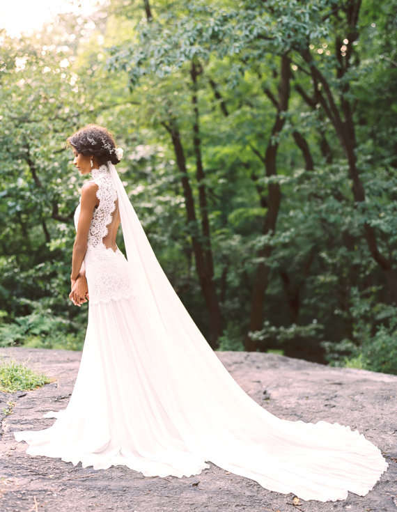 Summer Low Back Lace and Silk Wedding Dress