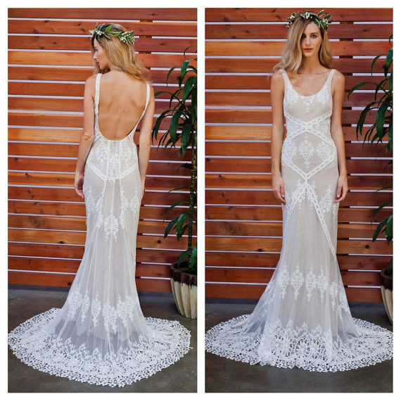 Cecilia Lace Bohemian Wedding Dress With Low Back