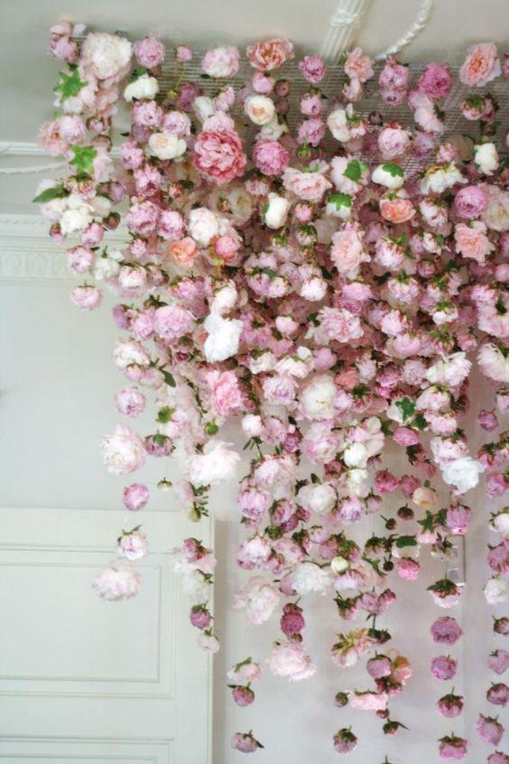 Pink Hanging Flower Installation Backdrop