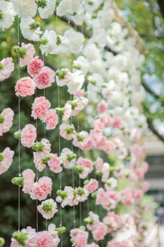 Pink and White Flower Garland Backdrop