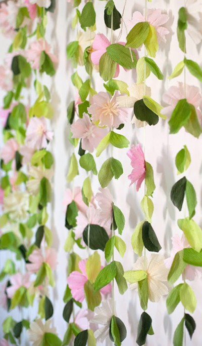 Pink and Greenery Floral Hanging Garland