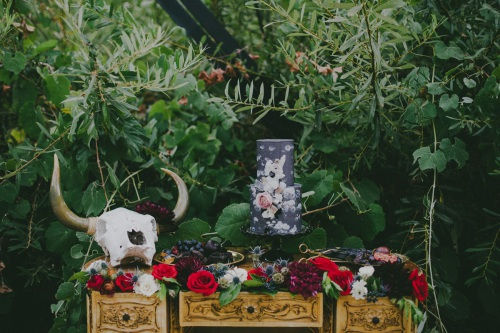 Black Wedding Cake with Flowers