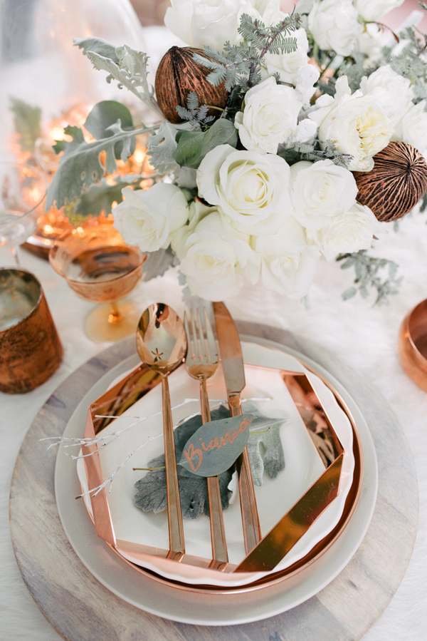 White and Copper Geometric Plate