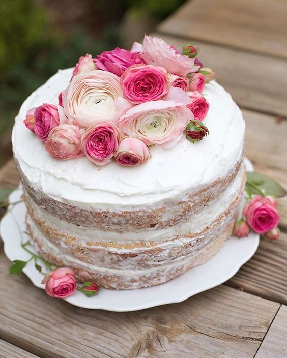 White and Pink Floral Semi-Naked Wedding Cake