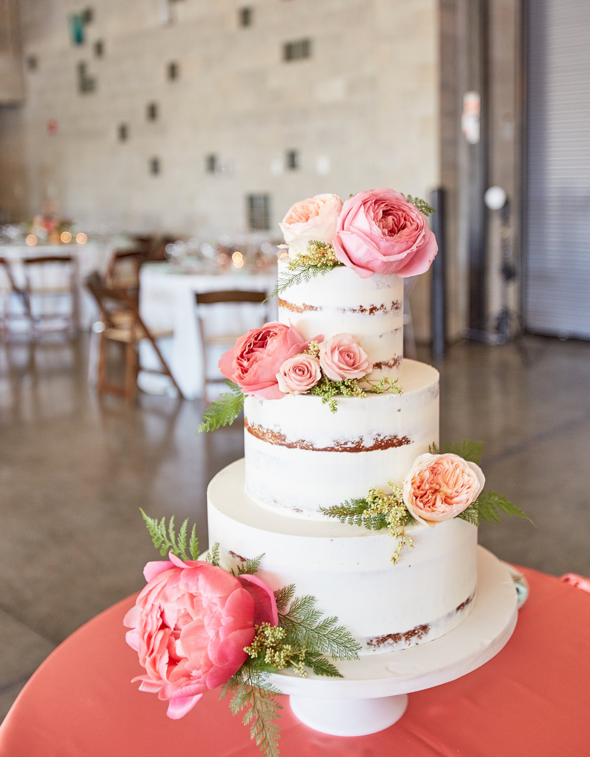 Three Tier Semi-Naked Wedding Cake with Pink Flowers