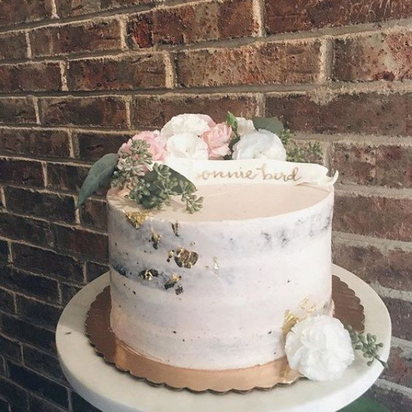White Simple Semi-Naked Wedding Cake with Flowers