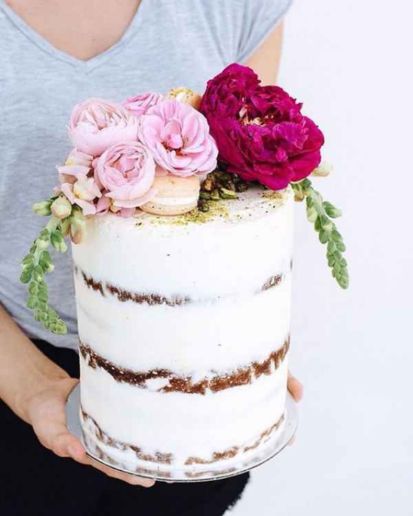 Bright Florals and Semi-Naked Wedding Cake