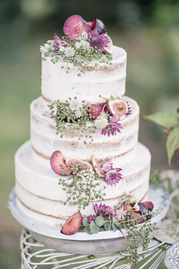 White Wedding Semi-Naked with Figs and Flowers