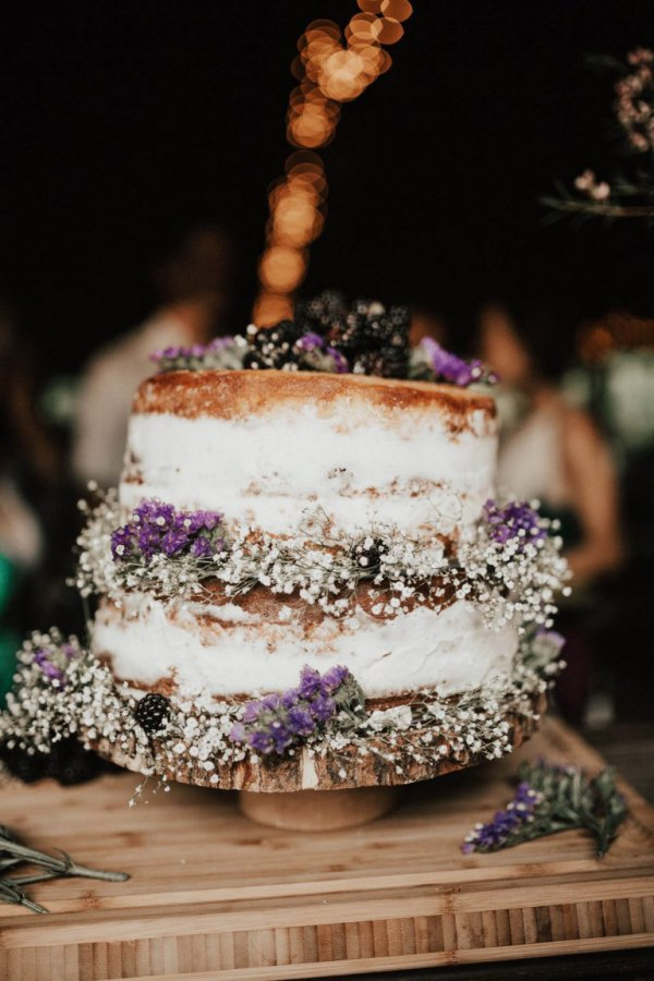 Semi-Naked Floral Wedding Cake with Blackberries
