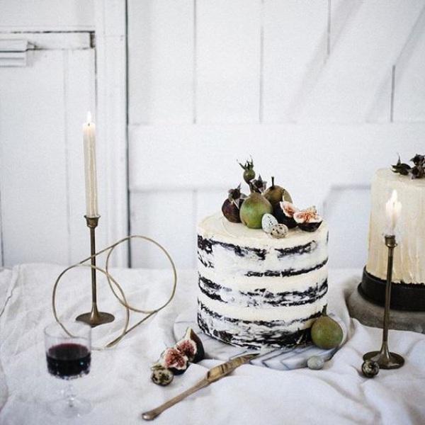 Dark and Light Semi-Naked Wedding Cake