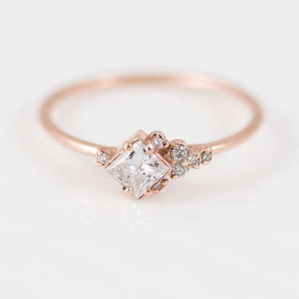Princess Cut Cluster Engagement Ring
