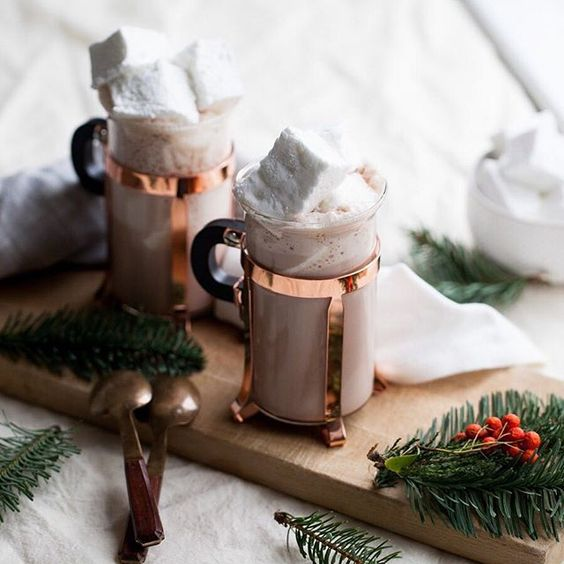 Hot Chocolate in Copper Mugs