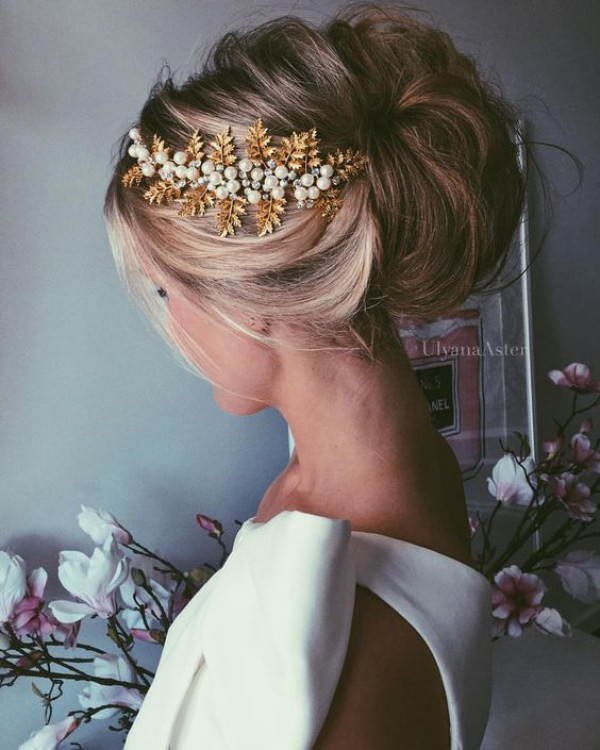 Updo with Golden Hairpiece