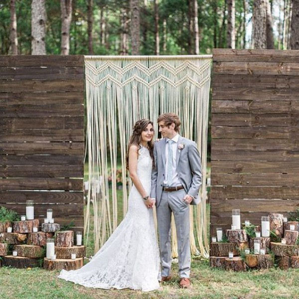 Macrame Wedding Backdrop with Bride and Groom