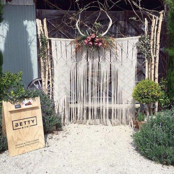 Macrame Wedding Backdrop with Antlers