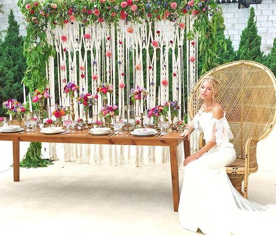 Macrame Wedding Backdrop with Flowers