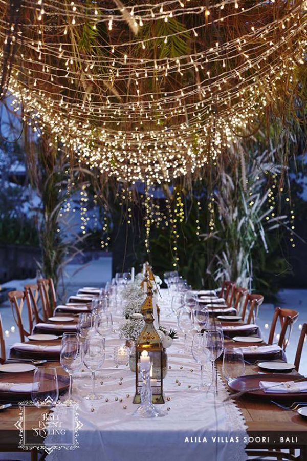 Outdoor Dining with Hanging Fairy Lights