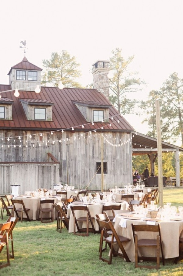 Outdoor Dining With Lights and Barn
