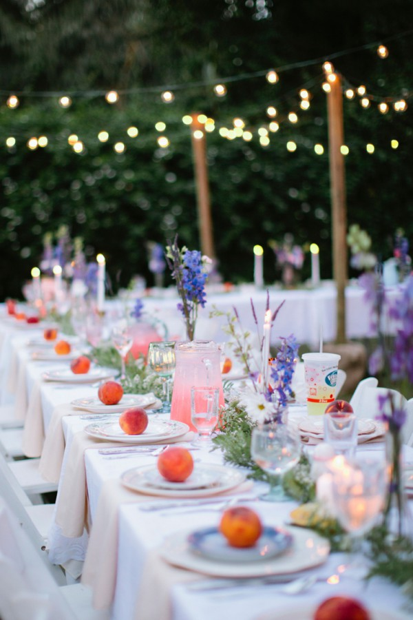 Outdoor Dining with Lights and Flowers