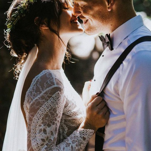 Bride and Groom Kiss Details