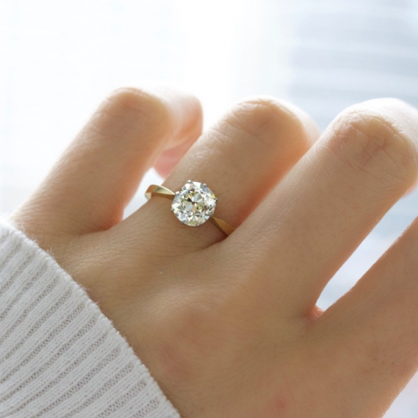 Solitaire Engagement Ring with Gold Band