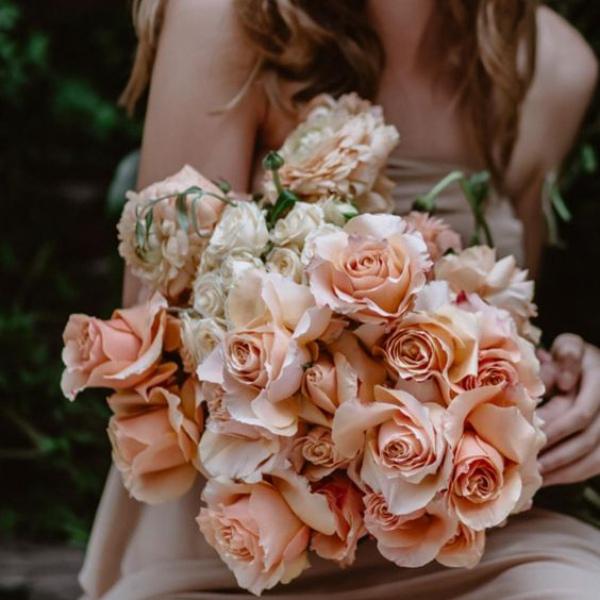 Peach Roses Wedding Bouquet