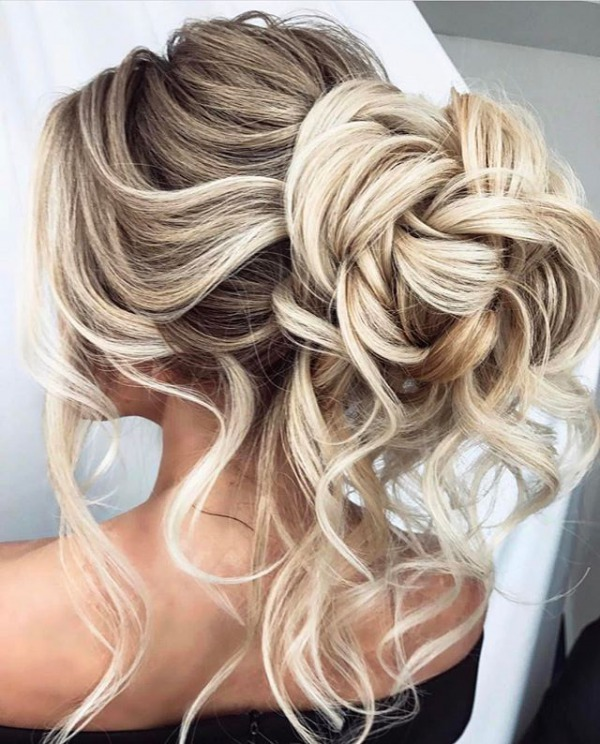 Messy Blonde Bridal Updo Hair Style