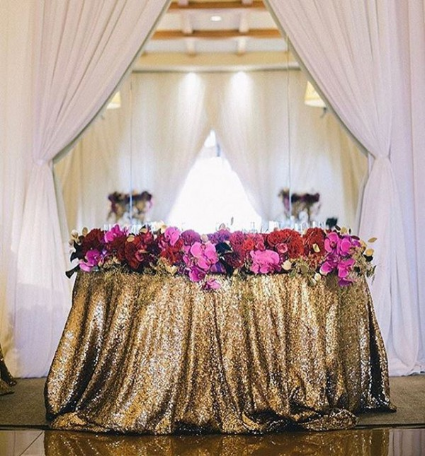 Sweetheart Table with Flowers and Gold Sequins