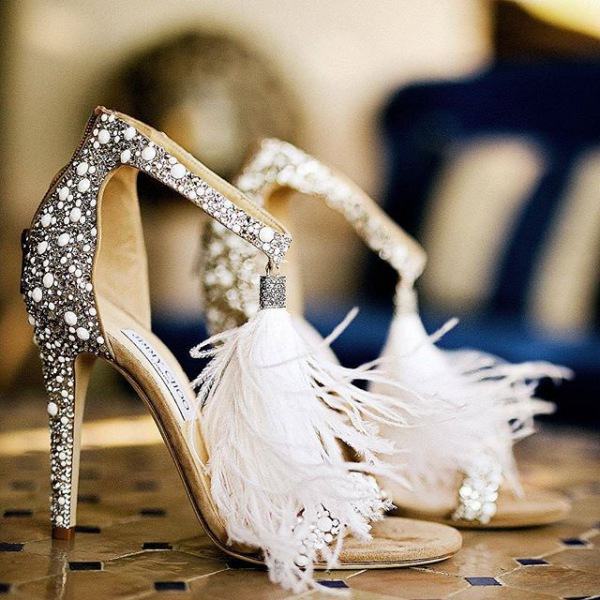 Embellished Crystal Shoes with Feathers