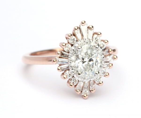 Oval Engagement Ring Art Deco Style