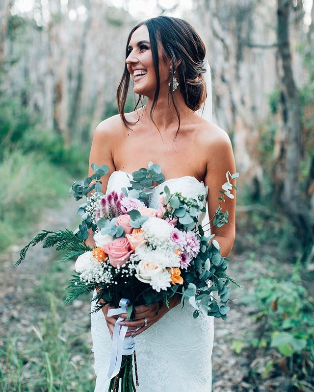 Wedding Bouquet with Greenery and Roses Flowers