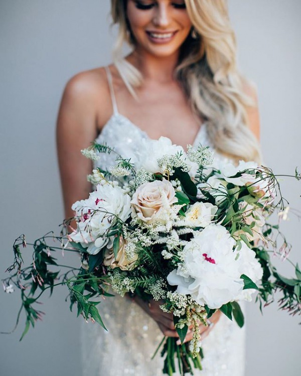 Wedding Bouquet with Greenery and Ivory Flowers