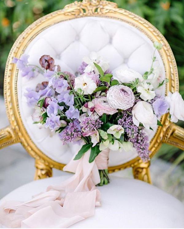 Wedding Bouquet with Purple Flowers