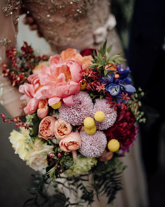 Wedding Bouquet with Colourful Flowers