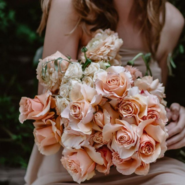Wedding Bouquet with Peach Flowers