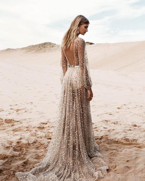 One Day Bridal Gold Embellished Dress