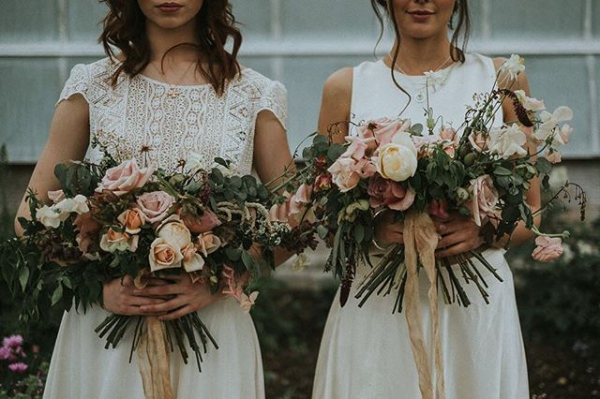 Stunning Autumn Bouquet with Bridesmaid and Bride