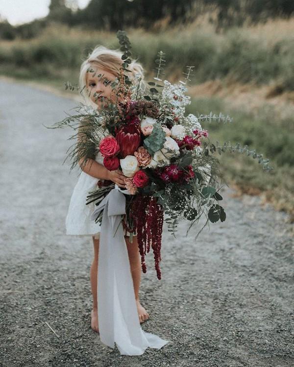 Stunning Autumn Bouquet with Flower Girl