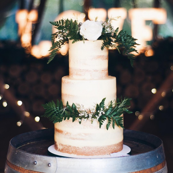 White Wedding Cake with Greenery