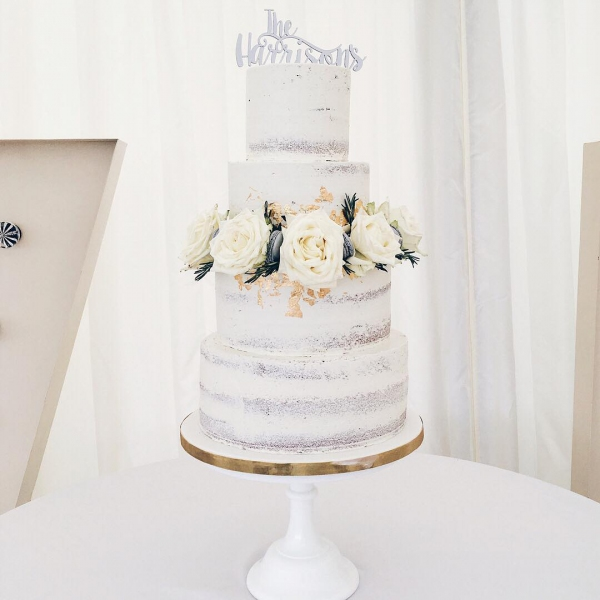 White Wedding Cake with White Flowers