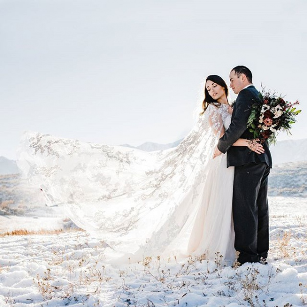 Bride and Groom Winter with Cape