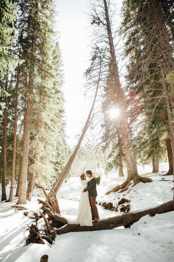 Winter Wedding Couple in Forest