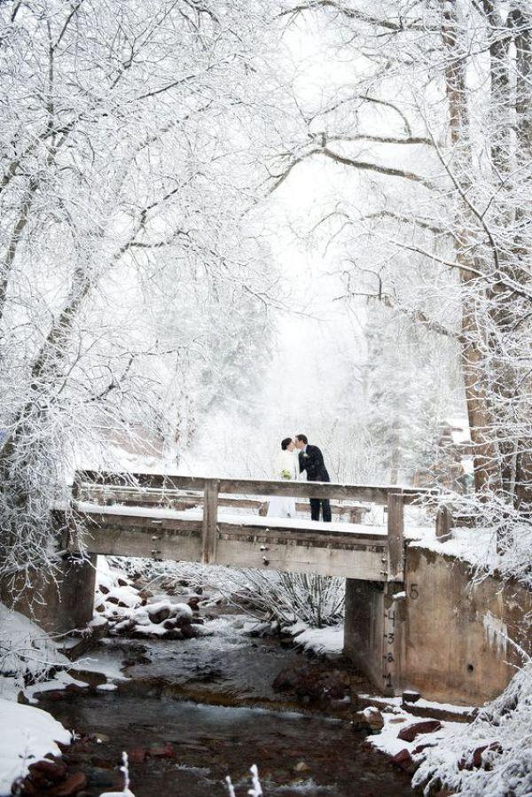Winter Wedding with Couple on Bridge